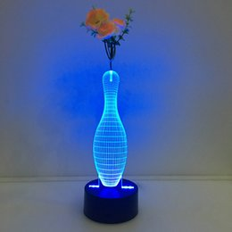 Argentina 3D Blowling Pin Illusion Lámpara de luz nocturna con flor DC 5V Carga USB Batería AA Dropshipping al por mayor Envío gratuito Caja al por menor cheap pin batteries led Suministro