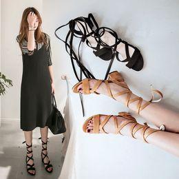 Wholesale Women S Flip Flops - New 2017 Summer Women 's Sandals Leisure Bind Tie Tassel Sandals Comfortable Flat Beach Slippers Fashion Flip-flops High Heel Shoes