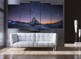 Wholesale Abstract Sky Painting Canvas - Switzerland Zermatt snow mountain and Northern Sky Frameless Paintings 5pcs(No Frame)