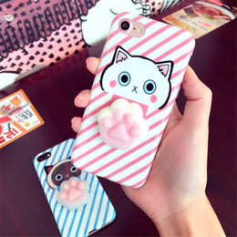 Wholesale Vacuum For Iphone - New Mobile Phone Shell Vacuum Squeezed All TPU Shell Reduce Stress Case for Iphone6s Mobile Phone Cartoon Cat for Iphone7plus