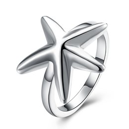 Wholesale Starfish 925 Silver Jewelry - Free shipping Wholesale 925 Sterling Silver Plated Fashion Starfish ring -8 code Jewelry LKNSPCR109-8
