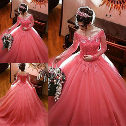 Wholesale Debutante Dresses Sleeves - V-neck Long Sleeve Ball Gown Quinceanera Dress Debutante Gowns Lace Appliques Long Prom Dresses Sweet 16 Gowns Tulle Quinceanera Gowns