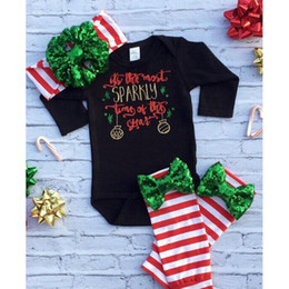 Wholesale New Suit Leggings - Christmas Baby Outfits Autumn INS Girls Clothing Sets New Long Sleeve Romper + Stripe Leggings +Sequin Bow Headband 3pcs suits C1681
