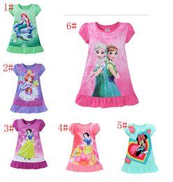 Wholesale Kids Clothing Pajamas - 6 style summer frozen girls dresses Elsa Anna Mermaid Sofia kids pajamas polyester nightgowns sleepwear clothes