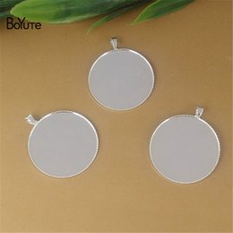 Wholesale Cameo Silver Jewelry - BoYuTe New Product 100Pcs 20MM 25MM Round Cameo Cabochon Base Setting Silver Plated Diy Pendant Blank Bezel Tray Copper Jewelry Findings