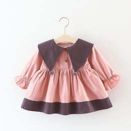 Wholesale Dress Korea Brand - Cute Girls Large Triangle Collar Dresses 2017 Fall Kids Boutique Clothing Korea Style 1-4T Little Girls Long Sleeves Contrast Color Dresses