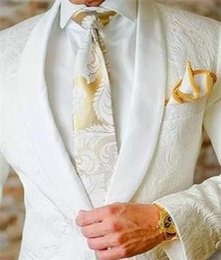 Wholesale unique mens pants - 2018 White Mens Floral Blazer Designs Mens Paisley Blazer Slim Fit Suit Jacket Men Wedding Tuxedos Unique Fashion Male Suits (Jacket+Pant)