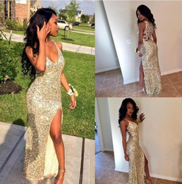 Wholesale Graduate Picture - Sexy Gold Sequins Arabic Prom Party Dresses V Neck High Slit Mermaid Backless Plus Size Cheap African Graduate Gowns Eveing Wear