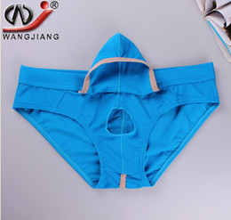 Wholesale Enhance Pouch Underwear - real Fine Wholesale new - WJ Men Underwear Mesh Men's Briefs Sexy Movable Open Sheath Pouch Penis Enhancing Underwear Men