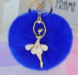 Wholesale Pendant Phone Crystal - Angel Fur Ball Pom Pom Keychain 19 Colors Phone Bag Pendant Key Chain Ring Holder 10pcs lot free shipping