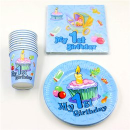 Wholesale 1st Birthday Party Favors - Wholesale- 60pcs\lot Baby Shower Happy Decoration Boy Girl Paper Plates 1st Birthday Party Cups Kids Favors Napkins Tablecloth Supplies