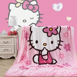 Wholesale Pink Knit Throw Blanket - Brief style kitty cat light pink Blanket Flannel fabric sofa Throws Cartoon single bedsheets Multifunctional Blankets 150*200cm