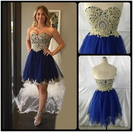 Wholesale Vestidos Homecoming Cortos - Sexy A Line Royal Blue and Gold Short Lace Homecoming Dresses 2017 Short 8th grade Graduation Gowns vestidos de 15 cortos