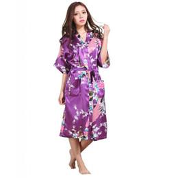 Wholesale Chinese Wedding Red Gown - Wholesale- High Fashion Purple Chinese Bride Wedding Robe Gown Women Rayon Nightwear Sexy Kimono Bath Gown Size S M L XL XXL XXXL Z013