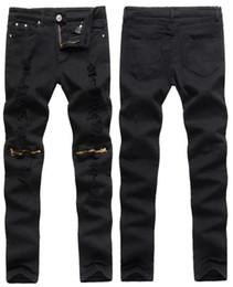 Wholesale Jeans Pattern Design - Wholesale- Fashion Patchwork hip-hop black men Ripped Jeans Pants 2016 Men's casual Brand Skinny Slim Fit Jeans Pencil Biker Design