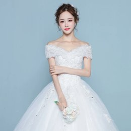 Wholesale Wholesale Plus Size Bridal Gown - vestidos de noiva lace wedding dresses 2016 short sleeve boat nect button appliques ribbon ball gown robe de mariage bridal dress