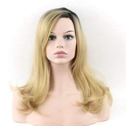 Wholesale Gold Lace Wig - Newly arrived Black gradient gold Side of the hairline women wig 2 Tones Synthetic None Lace Wig Free Shipping