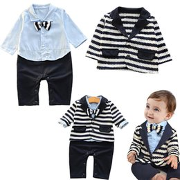 Wholesale Baby Romper Suit Tie - INS Baby Boys Gentleman Bow Ties Romper +jackets Infant Sets Two Pieces Toddler Casual Suit Coat
