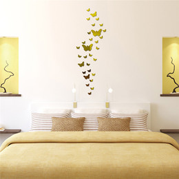 Wholesale Real Butterfly Acrylic - DIY Acrylic mirror wall sticker butterfly Modern real promotion home decorations large decal 3D stickers Acrylic For Wall