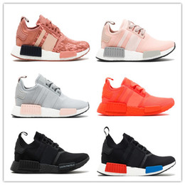 Wholesale Solar Red - 2017 Women NMD R1 Raw Pink trace pink, legend ink Running Shoes Fashion TRIPLE BLACK SOLAR RED 2017 Athletic Sport Trainers Casual shoes