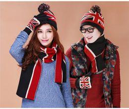 Wholesale Tie Wool Lining - USA UK Flag Design Knit Hat Scarf Gloves Sets Women Men Thick Wool Lining Winter 3 pcs Warm Set