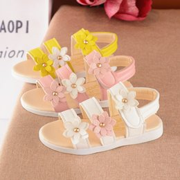 Wholesale Kids Gladiator Shoes - Wholesale 2017 new arrival flowers princess summer children sandals shoes for girls kids products white pink yellow 21-36#