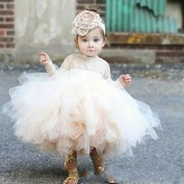 Wholesale Custom Made Baptism Gowns - Lovely Ivory Baby Infant Toddler Baptism Clothes Flower Girl Dresses With Long Sleeves Lace Tutu Ball Gowns