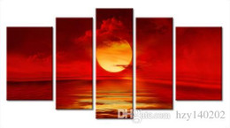 Wholesale Sunset Canvas Art Framed - YIJIAHE Fashion Canvas Painting Art Red Sunset 5 Pictures Print On Canvas Large 5 Piece Wall Pictures For Living Room FJ21