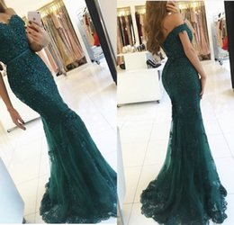 Wholesale Teal Sweetheart Mermaid Dress - Teal Off The Shoulder Prom Dresses 2017 Modest Robe De Soiree Mermaid Style Beading Tulle Formal Evening Gowns Party Dress