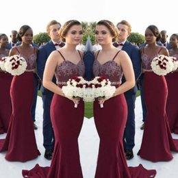 Wholesale Dark Blue Crystal Wedding Belt - 2017 Burgundy Cheap Country Bridesmaid Dresses Long Spaghetti Mermaid Wedding Guest Dress Appliques Crystal Belt African Maid Of Honor Gowns