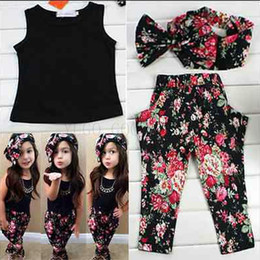 Wholesale Children Winter Suit Outfit - Wholesale- Fashion floral casual suit children clothing set sleeveless outfit headband flower summer new kids girls clothes set