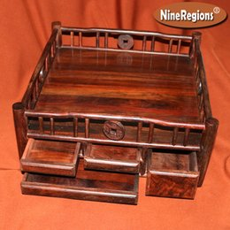 Wholesale Chinese Tea Tray Wood - Handmade African Siam wood Tray with 4 Drawer Chinese classical style Tea Coffee Table Fruit container home decoration