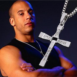 Wholesale Furious Gold - Wholesale- XA134 Furious 7 Toledo Pendant Necklace Trendy Male Gold Color Silver Color Cross Crystal Necklace&Pendants For Men Jewelry 2015