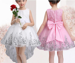 Wholesale Latin Dance Skirts Wholesale - girls' white and pink bubble dress in trailing and flat dance consume stage compere clothes wedding flower children princess skirt