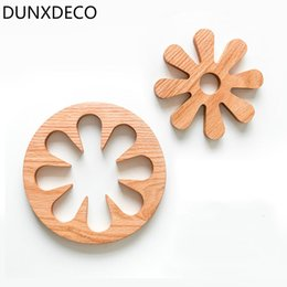 Wholesale Country Kitchen Sets - Wholesale- DUNXDECO 1 SET Country Style Wooden Round Flora Table Pot Placemat Kitchen Decor Photo Prop