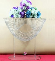 Wholesale Tables For Wedding Wholesale - 6pcs 2 sizes oval shape crystal acrylic beaded wedding centerpieces flower stand table decor for wedding event party decoration
