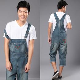 Wholesale xs overalls - Wholesale-Men's denim bib pants Fashion embroidery overalls loose jumpsuit capris Free shipping