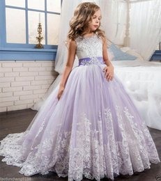 Wholesale Brown Fur Vest Kids - 2017 NEW Beautiful Purple and White Flower Girls Dresses Beaded Lace Appliqued Bows Pageant Gowns for Kids Baby Girl Birthday Party Christma
