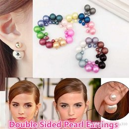 Wholesale Matte Earrings - Hot Sell 16 Colors High Quality Free Shipping Double Sided Women Pearl Earrings Matte frosted stud earrings Pearl Stud Earrings 2956