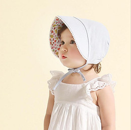 Wholesale Hats For Infants - New Girls Kids Princss Hats Flower Printing Beanie for Children Double Layer Sunbonnet for Infant Baby