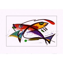 Wholesale Orange Abstract Canvas Art - Hand Painted abstract paintings Alfred Gockel A Colorful Golden and Orange Koi Fish Swimming Underwater art oil canvas High quality home dec