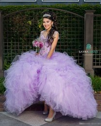 Wholesale Debutante Dresses Short - Plus Size Lilac Quinceanera Dresses Ball Gown Sequins Beading Sweetheart Capped Zipper 2017 Cheap Sweet 15-16 Debutante Dress Gowns for Prom