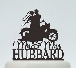 Wholesale Motorcycle Customs - Wholesale- custom glitter Wedding Cake Toppers ,Bride And Groom On motorcycle Silhouette party decorations