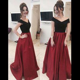 Wholesale Taffeta Bandage Dress - Off Shoulder Dark Red Evening Dresses Off Shoulder Satin Taffeta Floor Length Custom Made Formal Evening Dresses Formal Prom Dresses