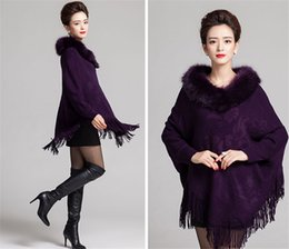 Wholesale Cashmere Poncho Black - Fur Cardigan Women Hooded Warm Poncho Capes Cashmere wool coat Cape jacket fur collar Outerwear Sweater Shawl Knitted Pashmina Poncho Cape