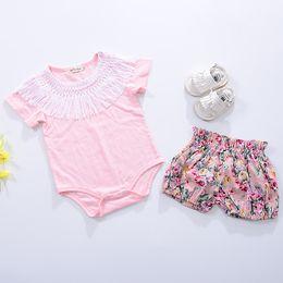 Wholesale Cotton Kids Romper Shorts - Baby Romper Summer Pink Tassel Vintage Jumpsuit for Girls Clothing Short Sleeve Kids Fashion Cotton Children Clothes Cute