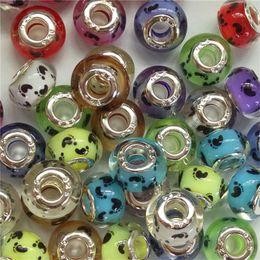 100шт Смешанных мод собак Paw печать Footprint Pattern Resin Европейского DIY Big Hole Silver Основные шарики шармов для изготовления ювелирных изделий от Поставщики каваийская смесь кабоинов