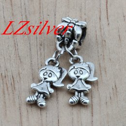 Wholesale Little Sister Charm - HOT ! 100Pcs Ancient silver Alloy Little Girls Sisters Twins Charm Dangle for European Bead Bracelet DIY Jewelry