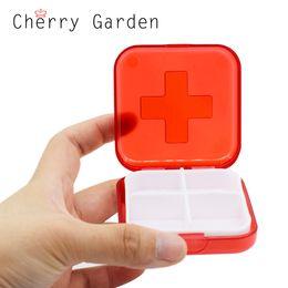 Wholesale Medicine Boxes Plastics - 4 Portable Lattice Plastic Can Medicine Box Drug Pill Organizer Container Makeup Storage Container Split Transparent Case MT082
