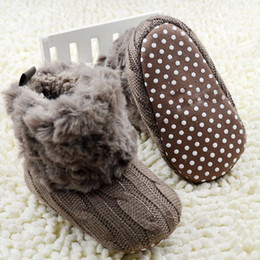 Wholesale Knit Shoes For Babies Girls - Wholesale- 2017 Winter Warm First Walkers Baby Ankle Snow Boots Infant Crochet Knit Fleece Baby Shoes For Boys Girls